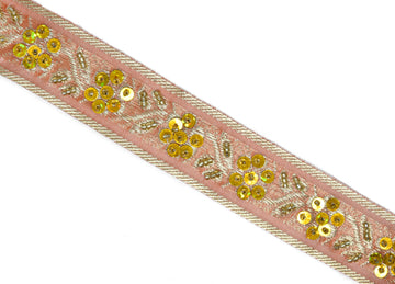 "Assorted Sequins Beaded Floral Indian Trim 1.25""-1 Yard"