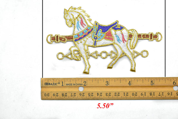 "5.5"" x 3.25"" Embroidered Carousel Horse Iron-On Applique"