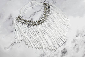 Knotted Fabric Fringe Trim with Metallic Silver Beads