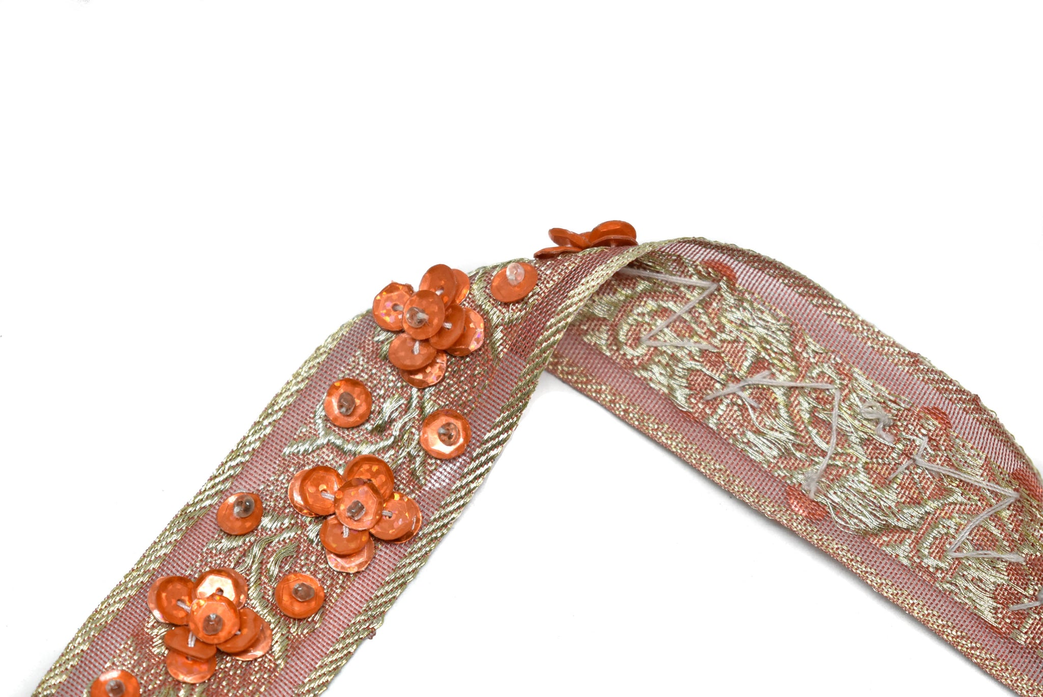"1 1/4"" Orange Sequins Beaded Embroidered Floral Indian Trim"