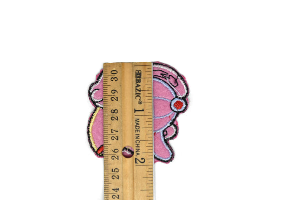 "Waving Pink Embroidered Dog Iron-on Patch 2.75"" x 2.15"" - 1 Piece"