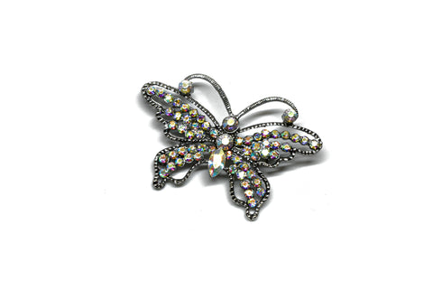 "Rhinestone Butterfly Brooch with Pin 2.25"" x 1.75"" - 1 Yard"