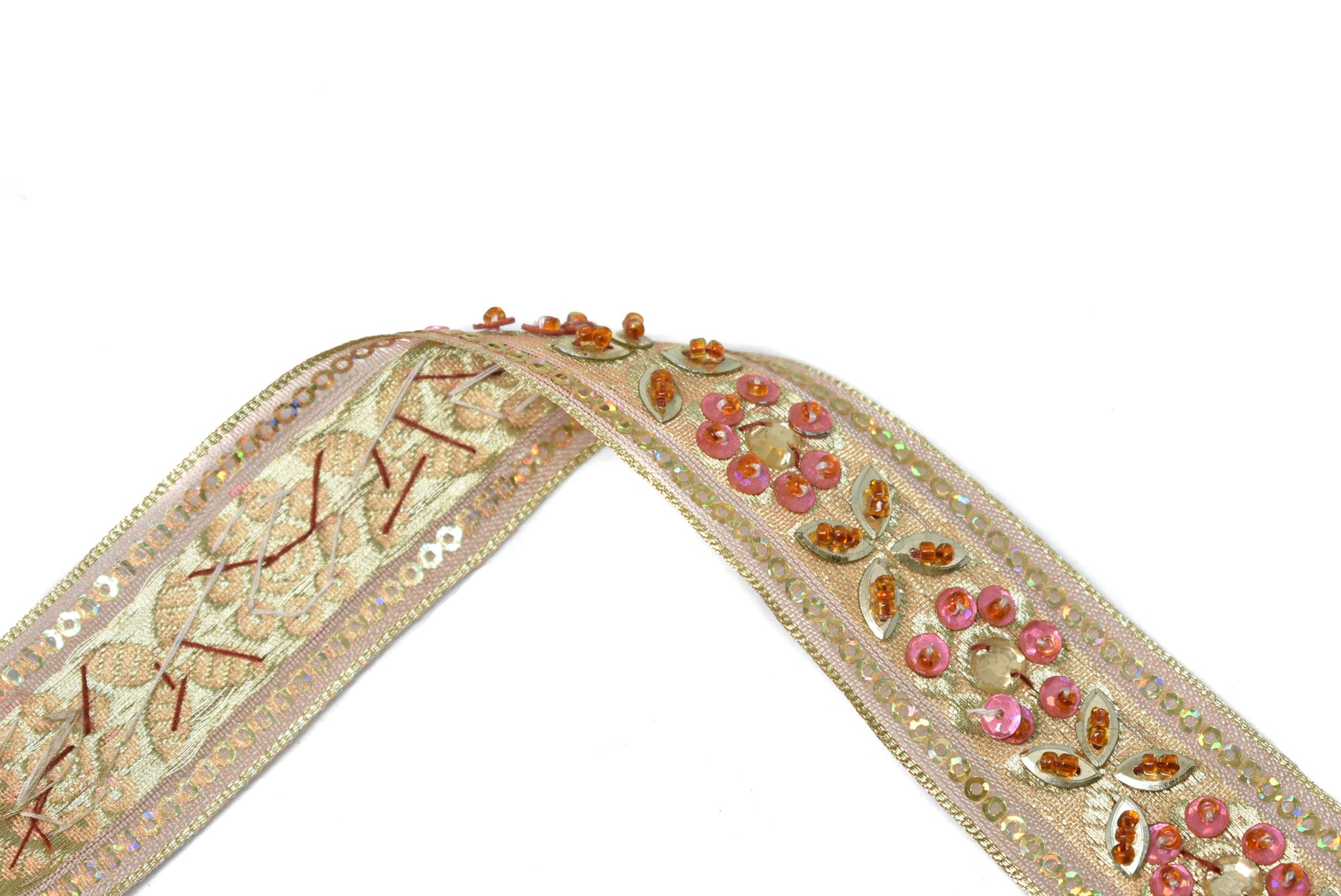"1 1/4"" Gold Sequins and Pink Beaded Floral Mesh Trim"
