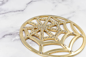 Gold Webbed Rhinestone Buckle