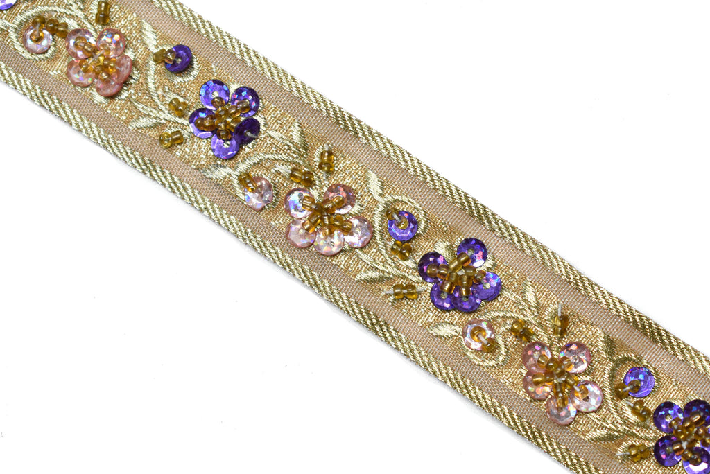 "Sequins Beaded Embroidered Floral Indian Trim 1.15"" - 1 Yard"