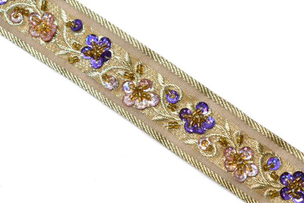 "1 1/8"" Sequins Beaded Embroidered Floral Indian Trim"