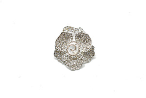 "Silver Rhinestone Rose Brooch 2"" - 1 Piece"