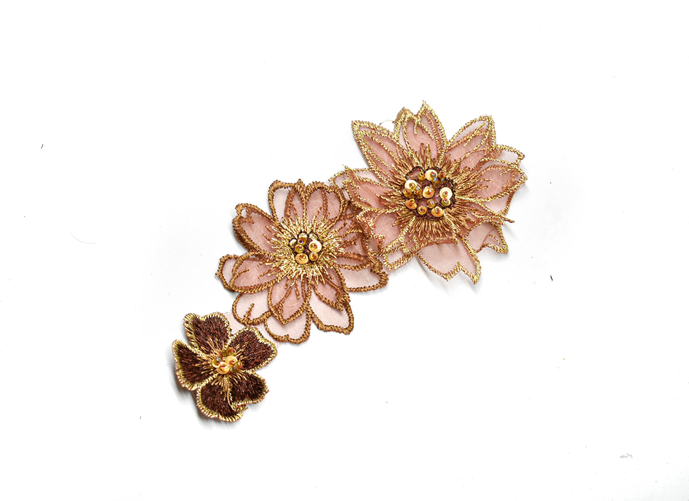 "Rose Gold Beaded Embroidered Floral Applique 6"" x 3"" - 1 Piece"
