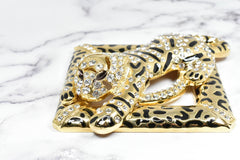 Rhinestone Square Tiger Buckle 4 1/2
