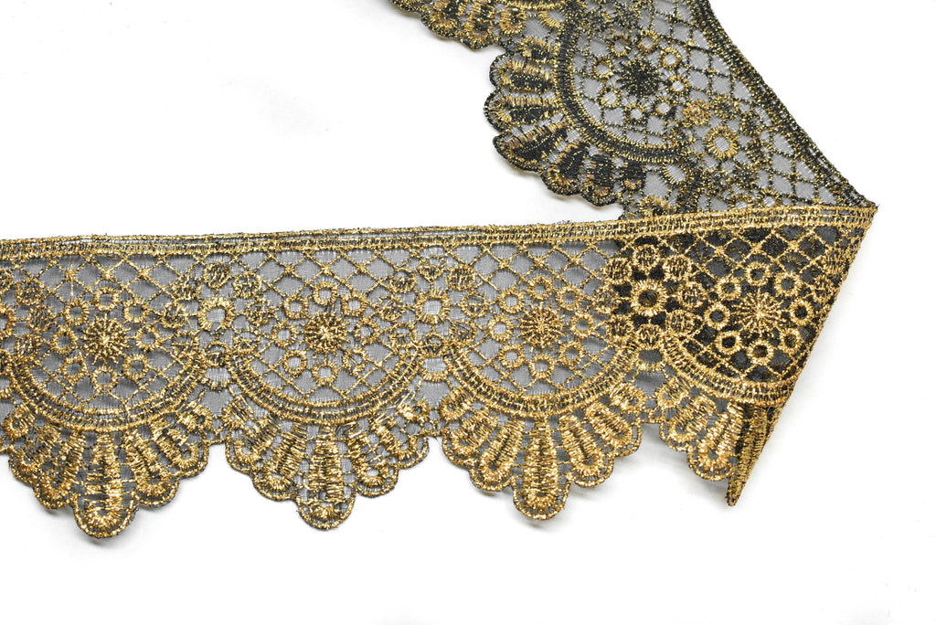 "Metallic Gold Embroidered Trim 2.50"" - 1 Yard"