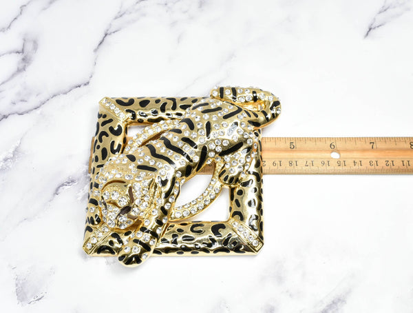 Rhinestone Square Tiger Buckle