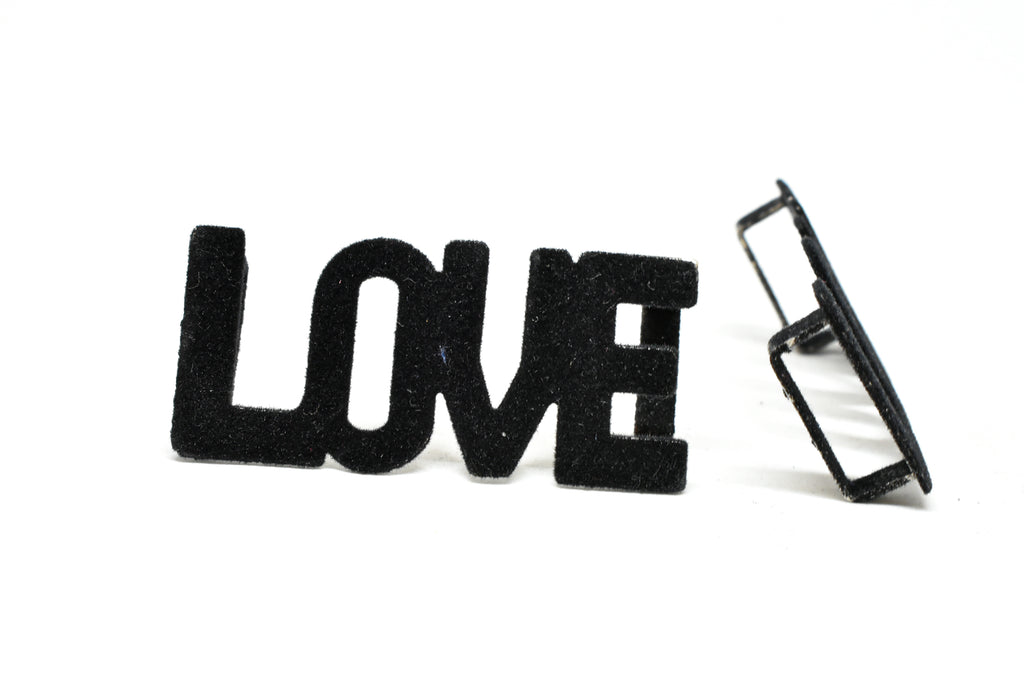 """LOVE"" Suede Buckle Connector 2.5"" x 1"" - 1 Piece"