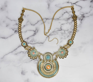 Gold & Teal Beaded Necklace with Pearls