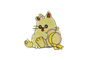 "Yellow Kitty w/ Hat Iron-On Patch 2.75"" - 1 Piece"