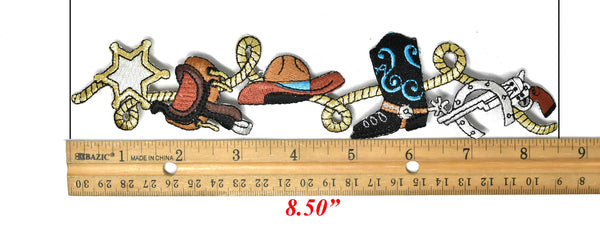 "8.5"" x 1.75"" Western Style Embroidered Iron-on Patch"