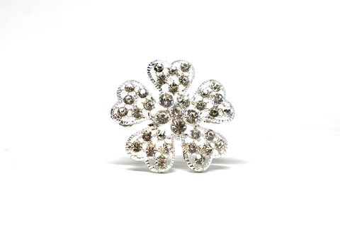 "2"" Sparkly Rhinestone Flower Brooch Piece with Pin"