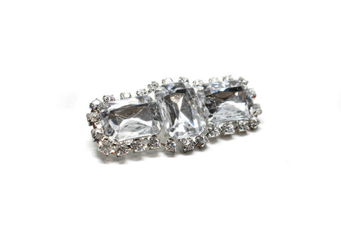 "Chunky Rectangular Rhinestone Brooch with Pin 2.5"" x 1"" - 1 Piece"