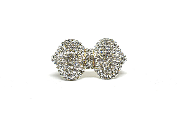Crystal Rhinestone Bow Shape Brooch with Pin on Back- Garment Embellishment