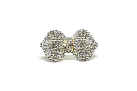 2 1/4'' x 1 1/4'' Crystal Rhinestone Bow Shape Brooch with Pin on Back- Garment Embellishment