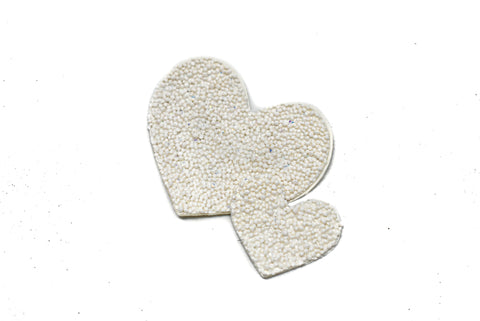 2'' x 2'' + 1'' x 1'' White beaded and glitter iron on Heart Applique