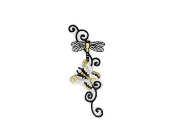 "Floral Butterfly/Dragonfly Iron-On Patch 5"" x 2"" - 1 Piece"