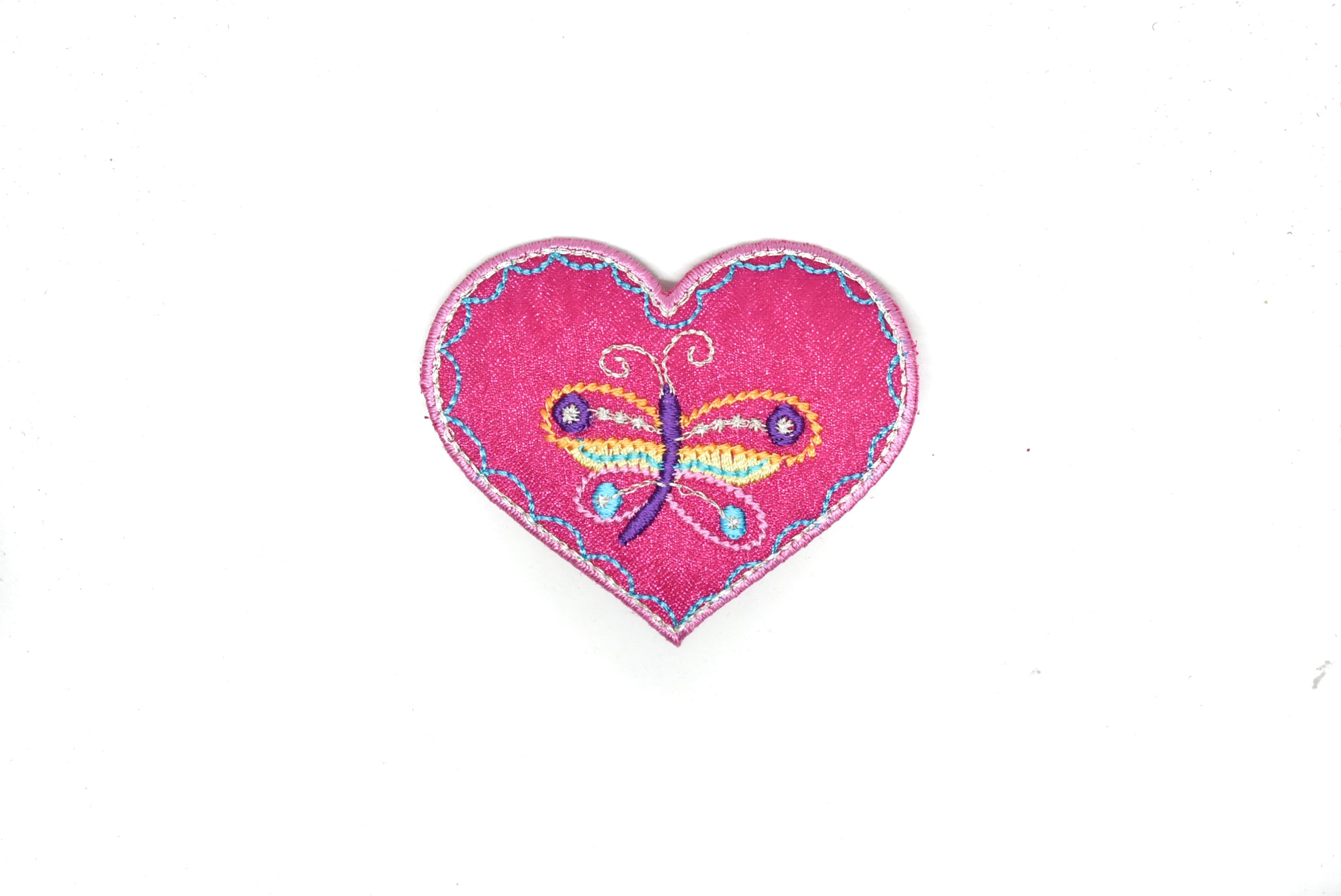 "2.75"" x 2"" Pink Heart with Butterfly Iron on Patch Applique"