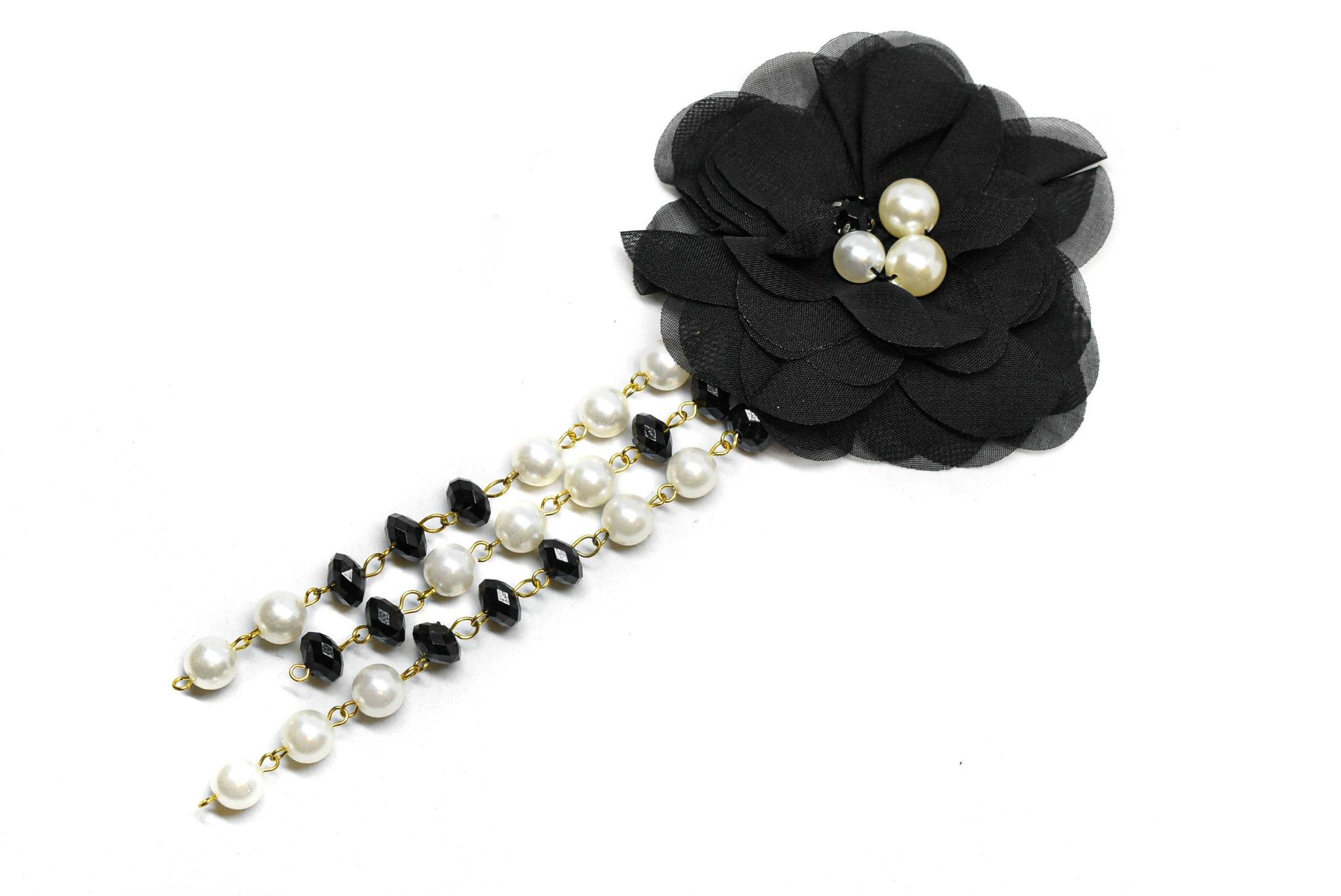 Pearl Black and White Flower Applique with Pin- Flower Pin Applique