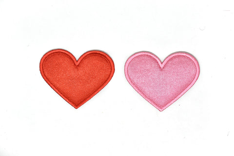 "2.50"" x 2"" Pink or Red Heart Iron-On Patch Applique"