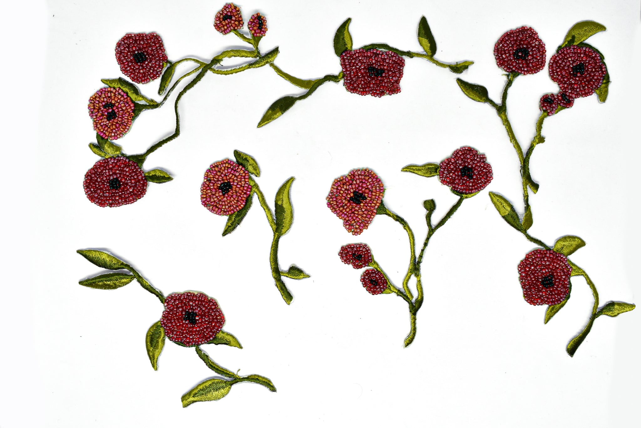 Beaded Rose Vine Sew-on Applique (15 pieces set)