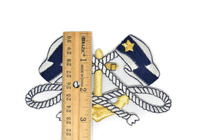 Blue and White Iron-on Patch with Flag and Anchor- 1 Piece