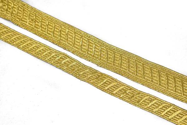 "Metallic Gold Embroidered Trim 1/2"" or 1"" - 1 Yard"