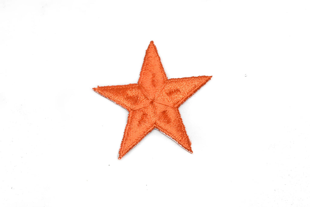 Orange Embroidered Star Appliques - Iron-on Star Patch