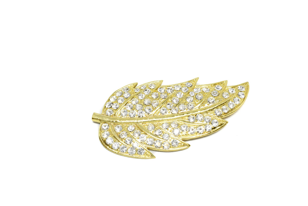 "Feather Rhinestone Brooch 3.50"" x 3"" - 1 Piece"