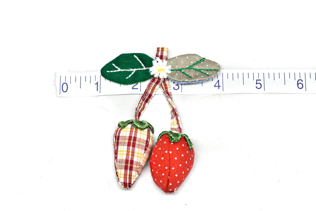"Multicolor Strawberry Applique with Pin 3"" x 3.50"" - 1 Piece"