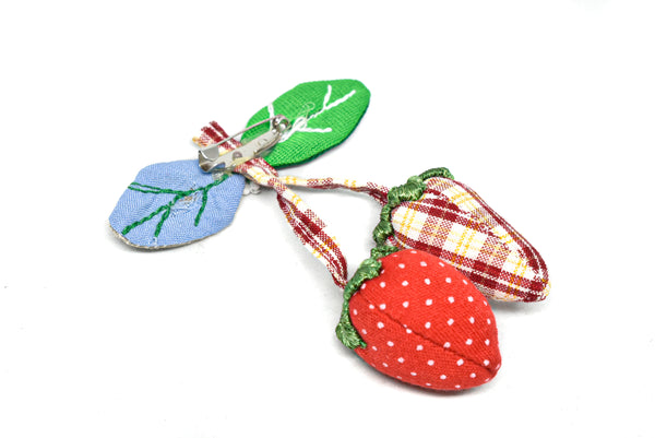"3"" x  3 1/2"" Multicolor Strawberry Applique with Pin Back"
