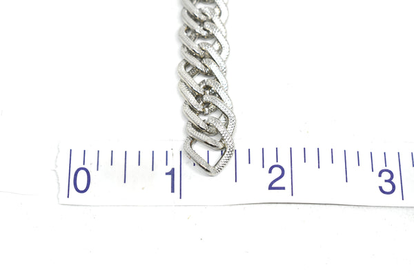 "1/2"" (13 mm) Silver Double Link Etched Chain (Aluminium)"