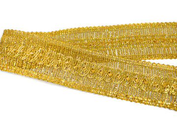 "Metallic Gold or Metallic Silver Sequins Trim (1 3/4"")- 1 Yard"