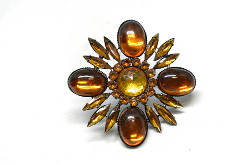 "Orange Floral Rhinestone Brooch 2.50"" - 1 Piece"