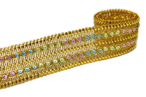 "1 3/4"" Metallic Gold with Multi-Colored Sequins Trim"