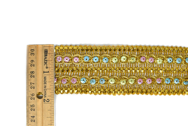 Metallic Gold with Multi-Colored Sequins Trim 1.75 - 1 Yard