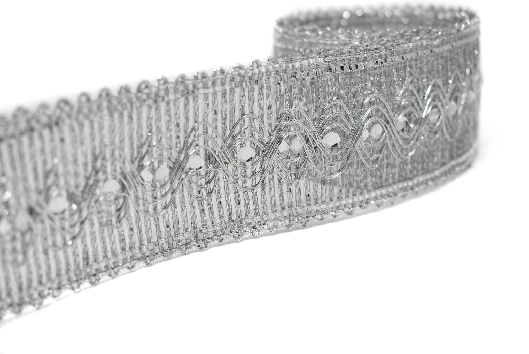 "(1 3/4"") Gold or Silver Sequins Metallic Trim"