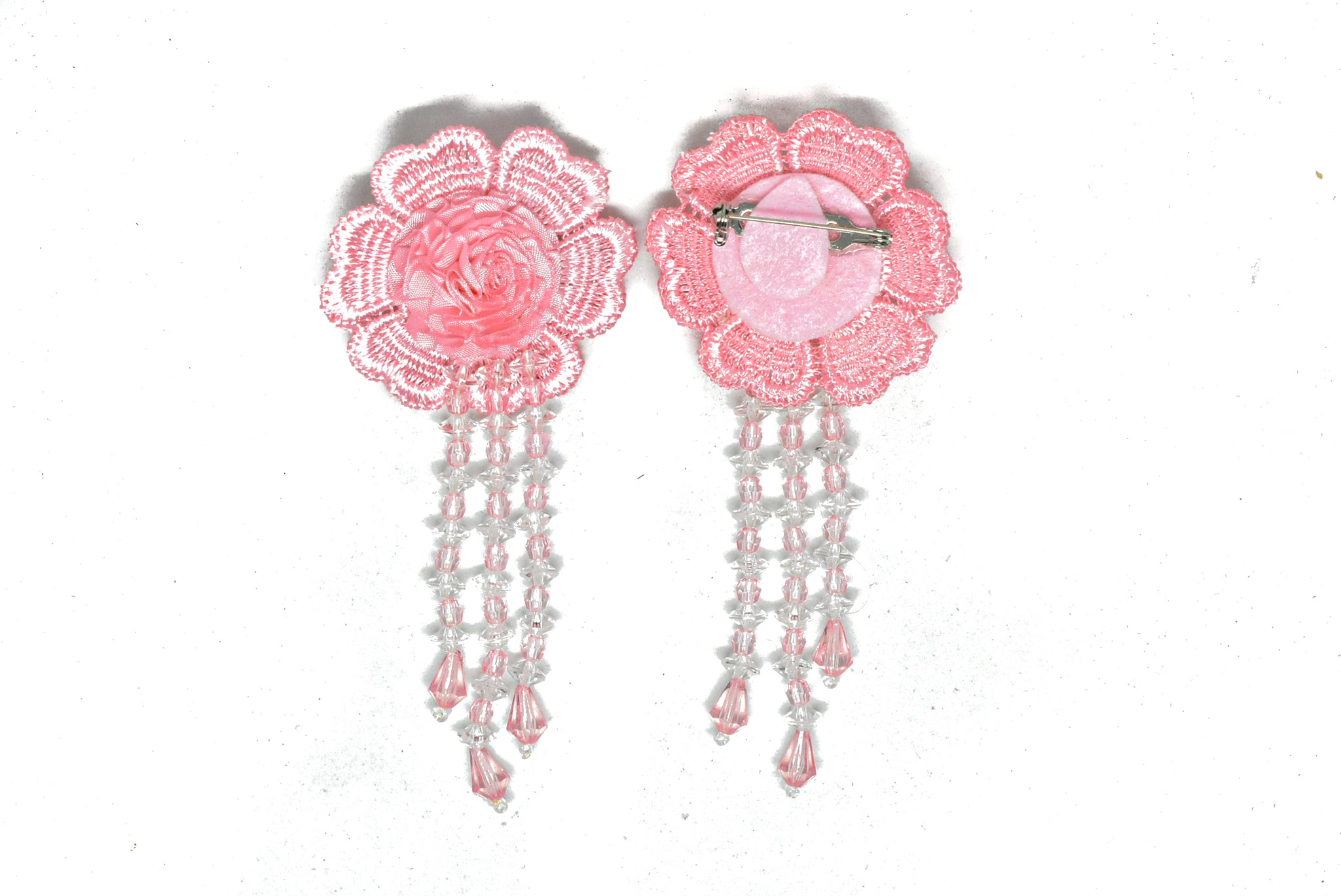 "2"" x 4"" Pink Flower Applique and Dangling Beads with Pin Back"