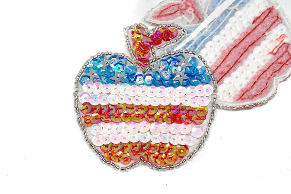 "2.5"" Sequins Apple shaped american Flag applique"