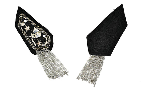 A pair (2 Pieces) Rhinestone and Studded Shoulder Pads with Tassel- DIY Accessory Festival Epaulets