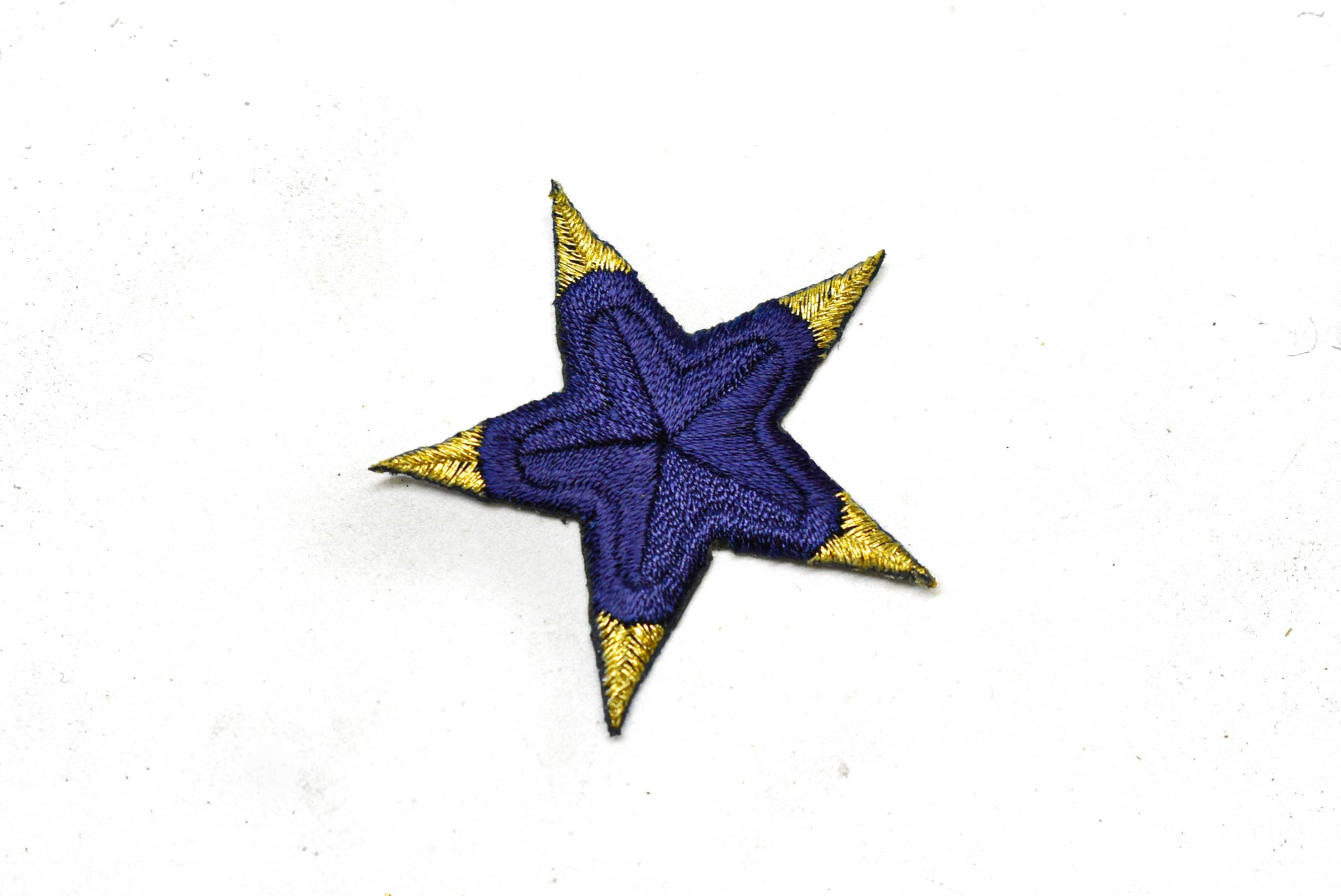 "Blue and Gold Embroidered Star Applique- Iron-on Star Patch-  2"" - 1 Piece"