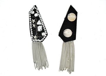 Studded Rhinestone Shoulder Pads with Tassel Chain (2 Pieces)
