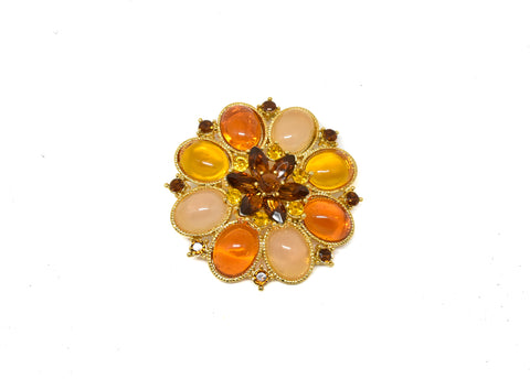"2"" Orange Rhinestone Flower Brooch w/ Pin"