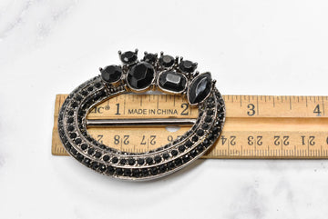 Black Oval Rhinestone Buckle Slider
