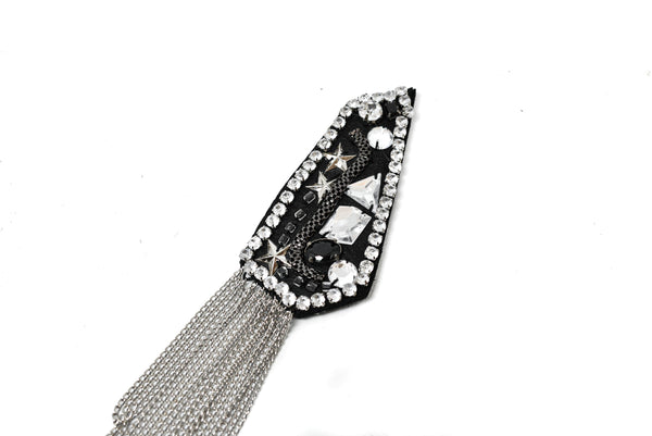 "1.75"" x 4.25""  Pair (2 Pieces) Rhinestone and Studded Shoulder Pads with Tassel- DIY Accessory Festival Epaulets"