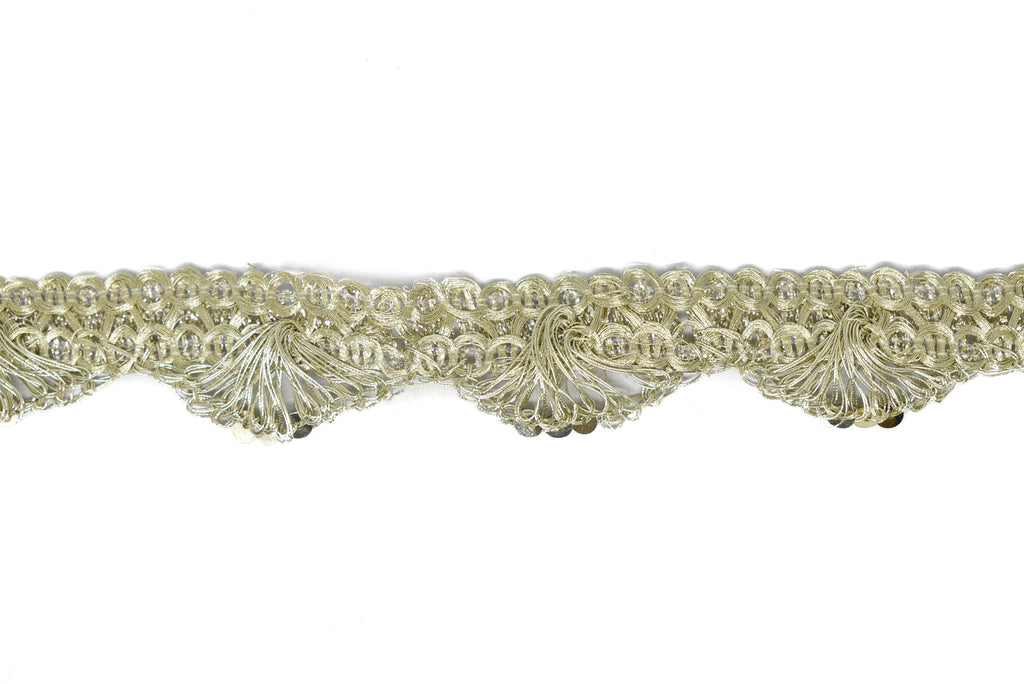 "Woven Scalloped Metallic Trim 1"" - 1 Yard"